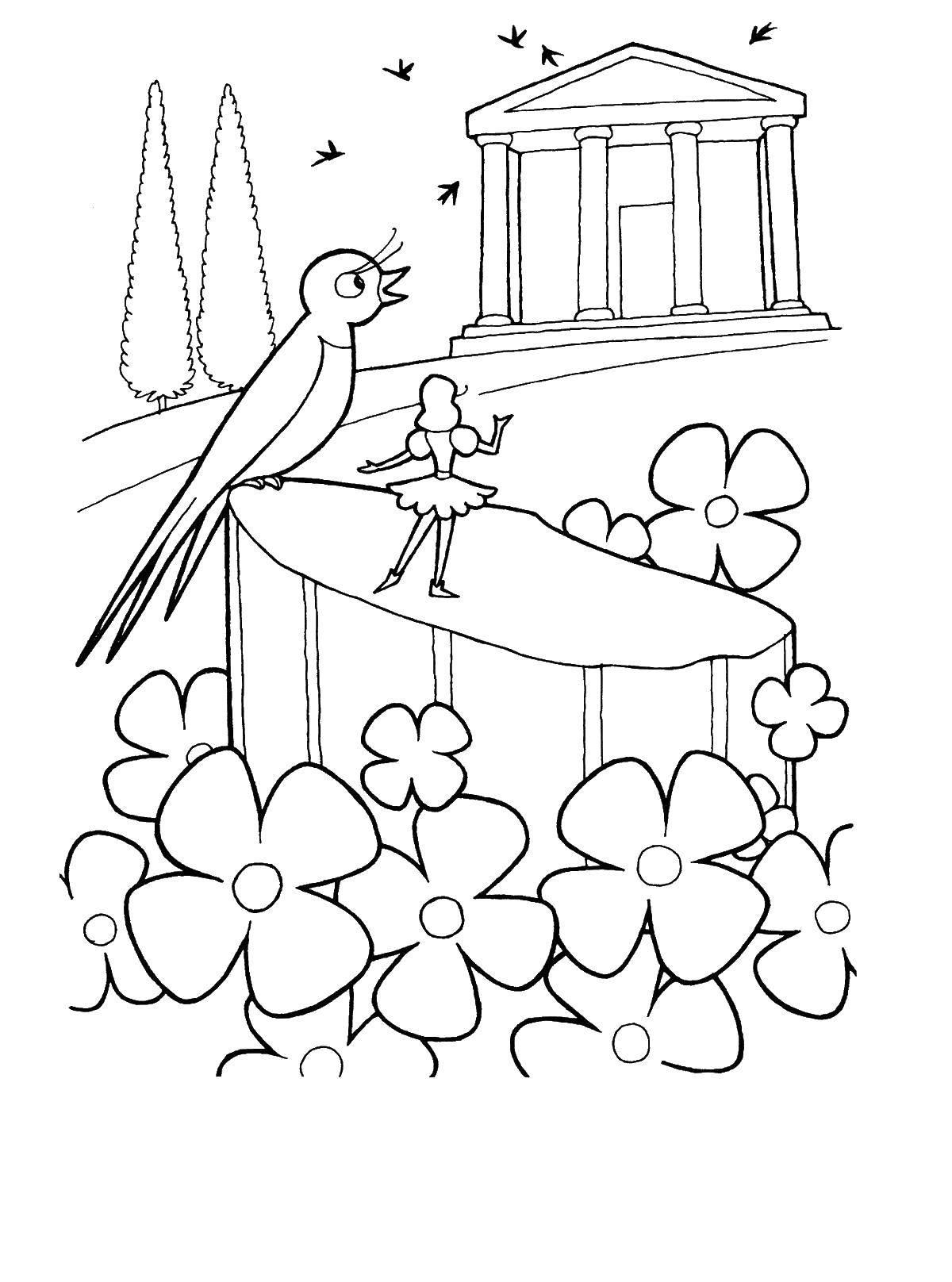 раскраски раскраска ласточка привела дюймовочку на цветочную