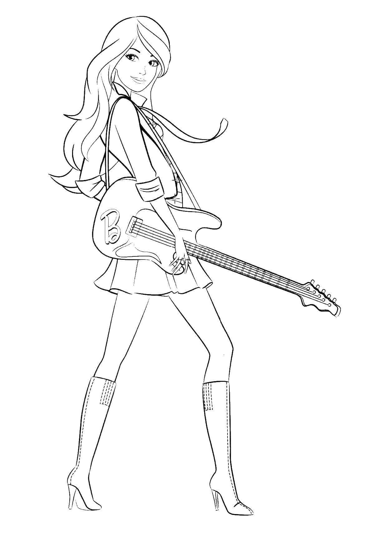Раскраска Барби музыкант Скачать барби, гитара.  Распечатать ,Барби,