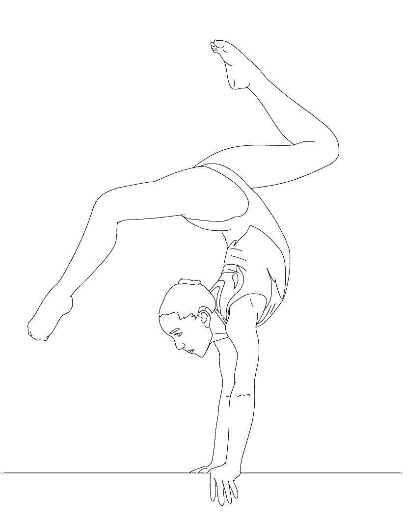 Раскраска Гимнастка Скачать гимнастика, гимнасты.  Распечатать ,гимнастика,