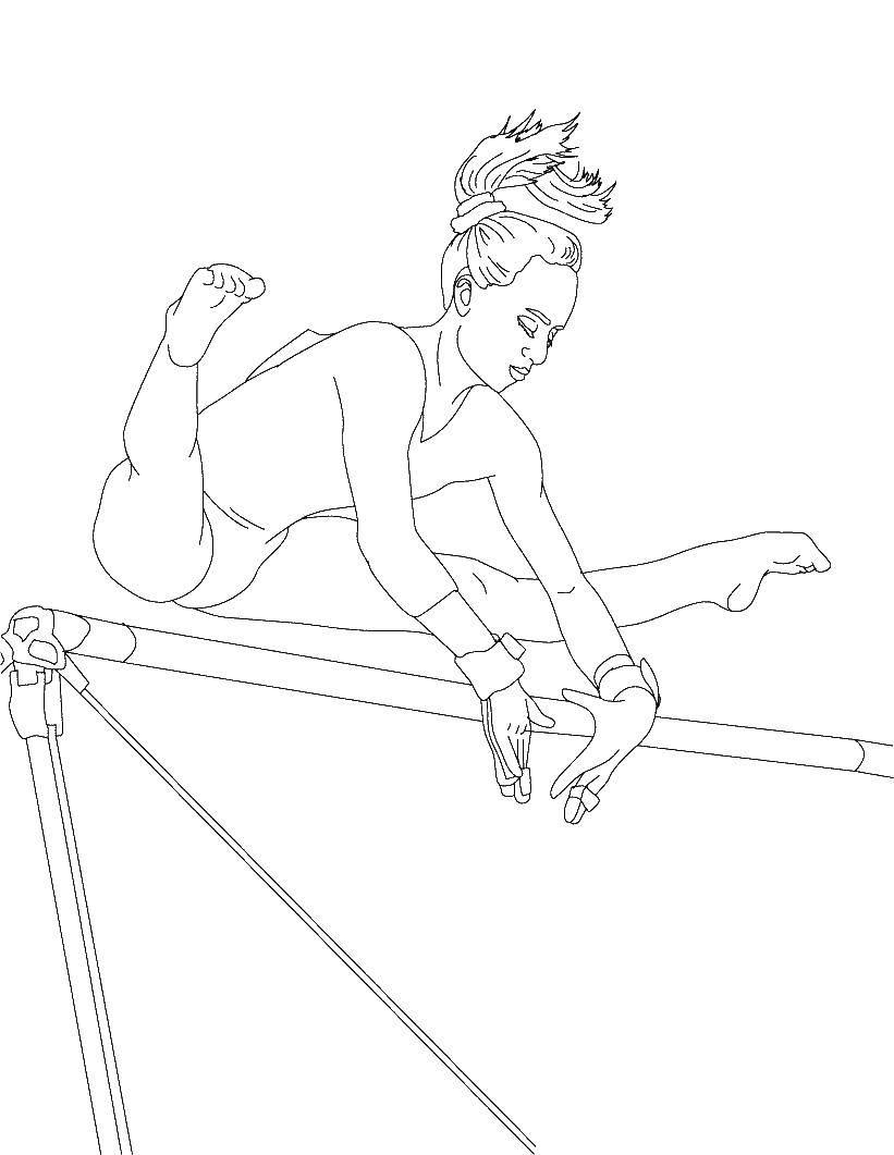 Раскраска Гимнастка Скачать гимнастика.  Распечатать ,гимнастика,