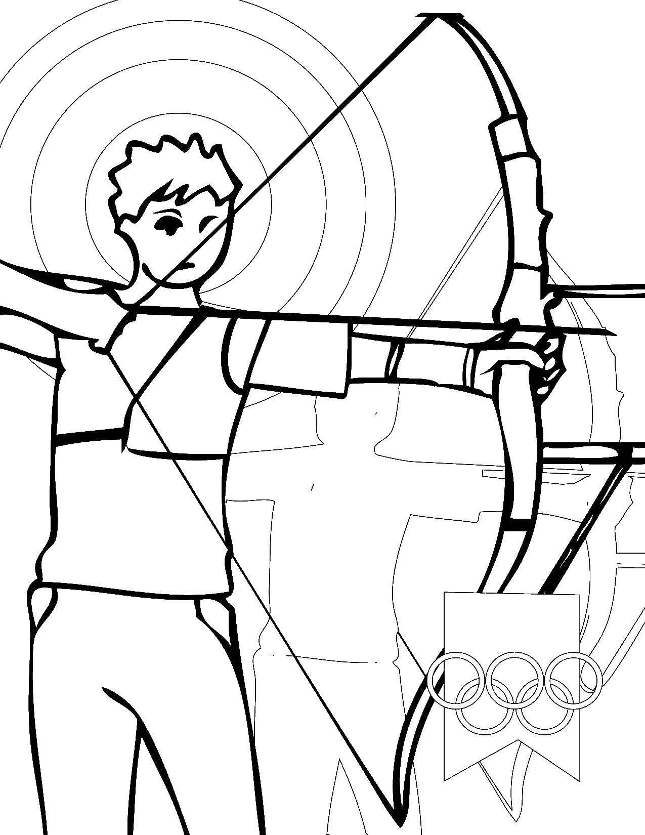 Раскраска Лучник Скачать лучник, олимпийские игры.  Распечатать ,олимпийские игры,