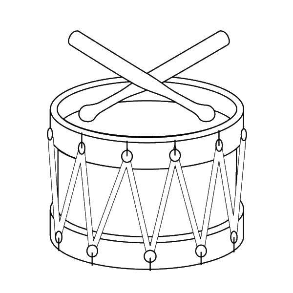 Раскраска Барабан и палочки Скачать музыкальный инструмент, барабан.  Распечатать ,барабан,