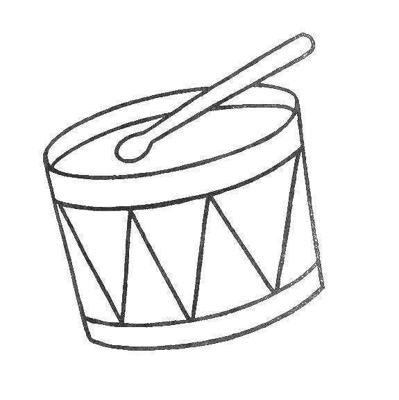Раскраска Барабан Скачать музыкальный инструмент, барабан.  Распечатать ,барабан,