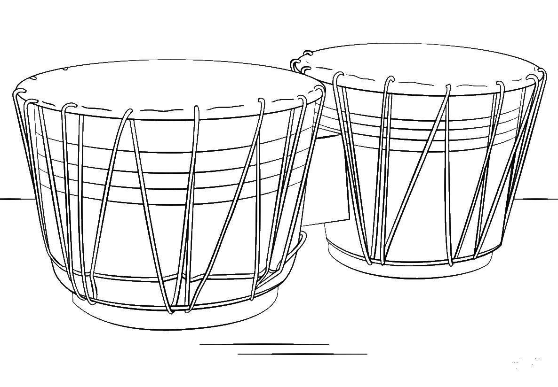 Раскраска Брарабаны Скачать музыкальные инструменты, барабаны.  Распечатать ,барабан,