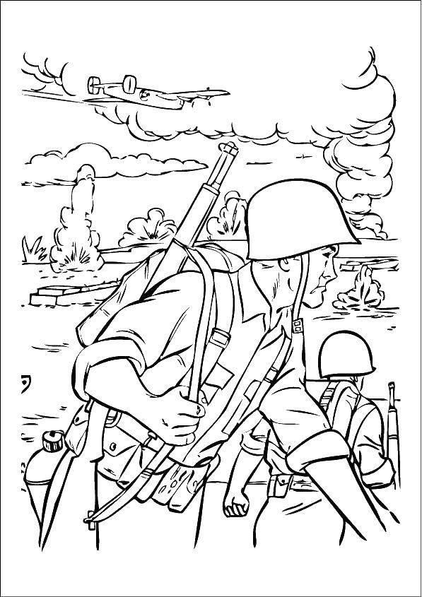 Раскраска Солдаты на войне. Скачать Солдат, война.  Распечатать ,военные раскраски,