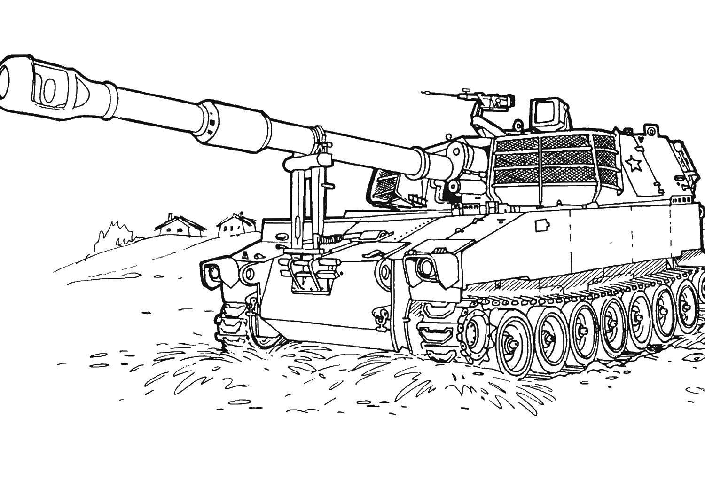 Раскраска Танк тип 74. Скачать танк.  Распечатать ,военные раскраски,