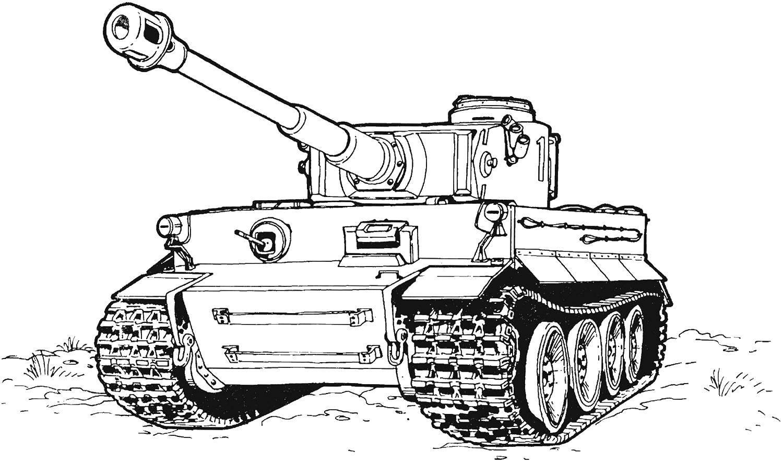 Раскраска Танк. Скачать танк.  Распечатать ,военные раскраски,
