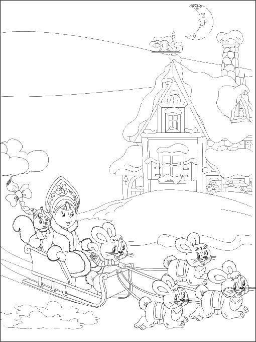 Раскраска Снегурочка едит на санках с зайчатками Скачать снегурочка, зима.  Распечатать ,снегурочка,