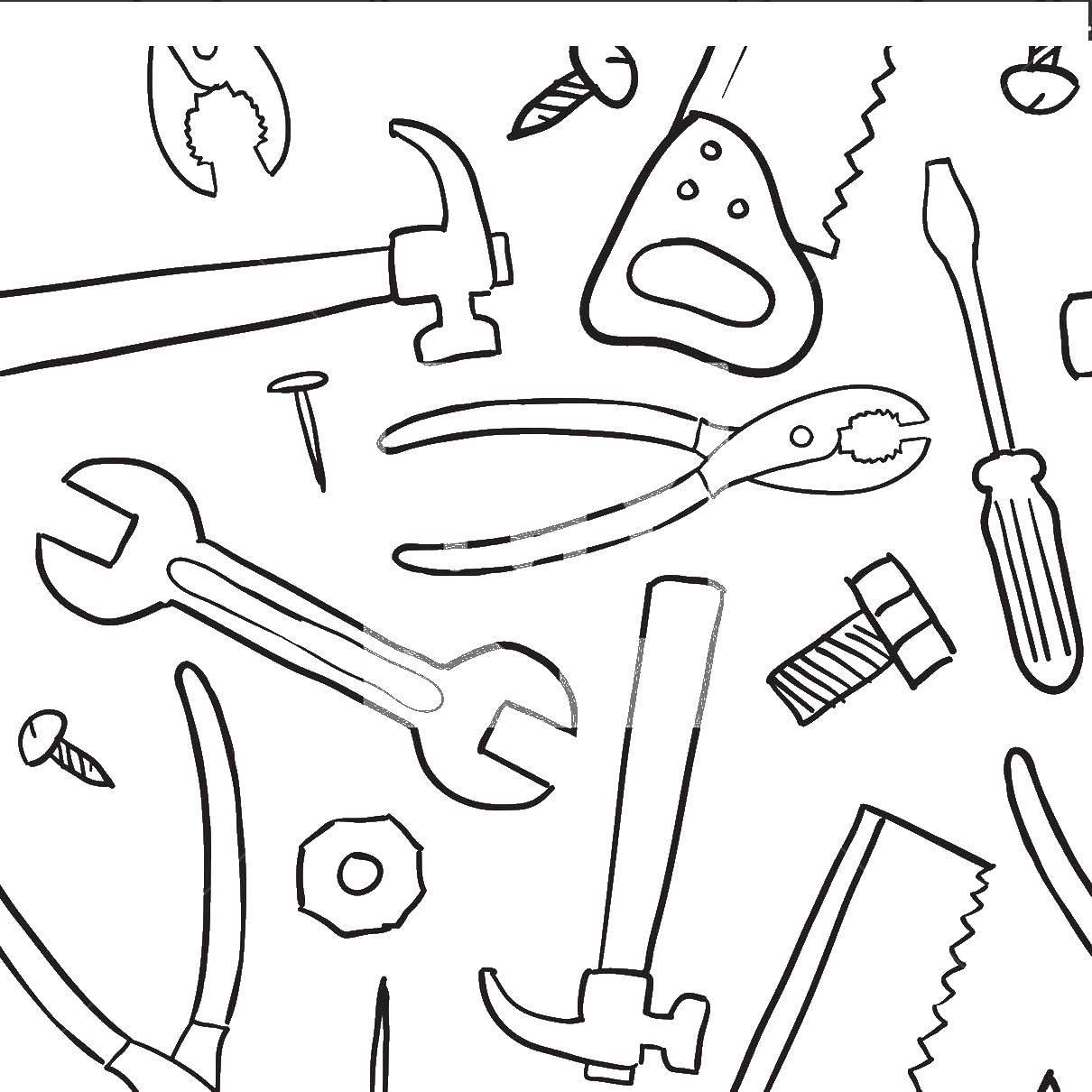 Раскраска Инструменты Скачать инструменты.  Распечатать ,инструменты,
