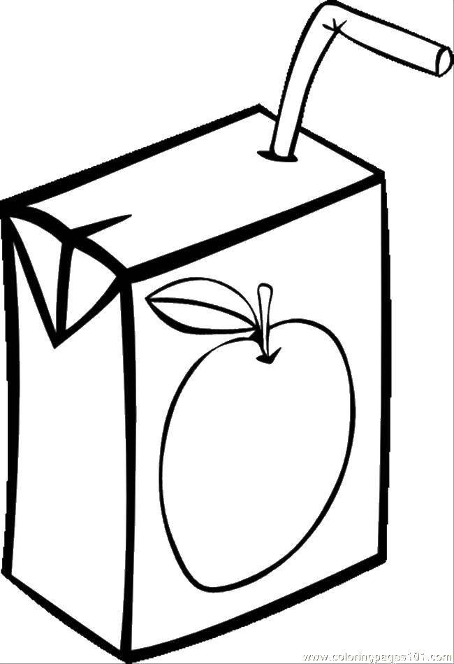 Раскраска Коробка с соком Скачать ,коробка, сок,.  Распечатать
