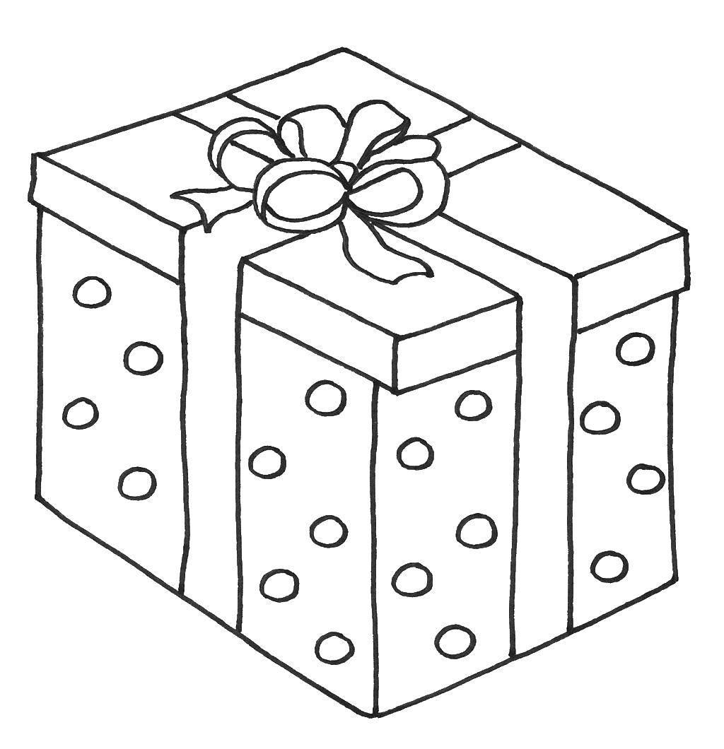 Раскраска Подарочная коробка Скачать ,коробка, подарок,.  Распечатать
