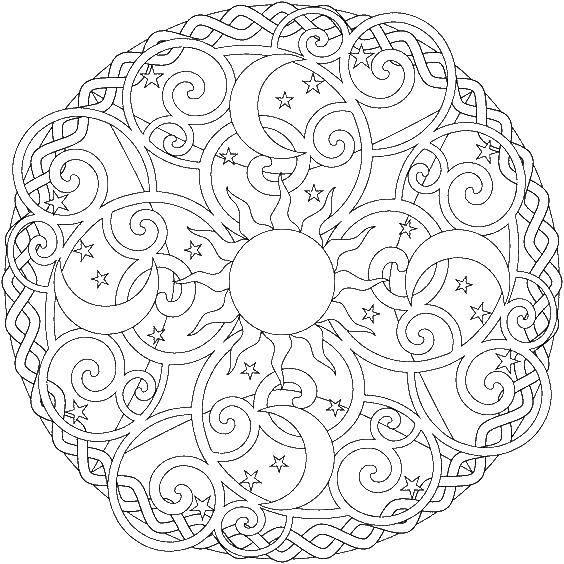 Название: Раскраска Узоры солнце и луны. Категория: узоры. Теги: солнце, луна, узоры.
