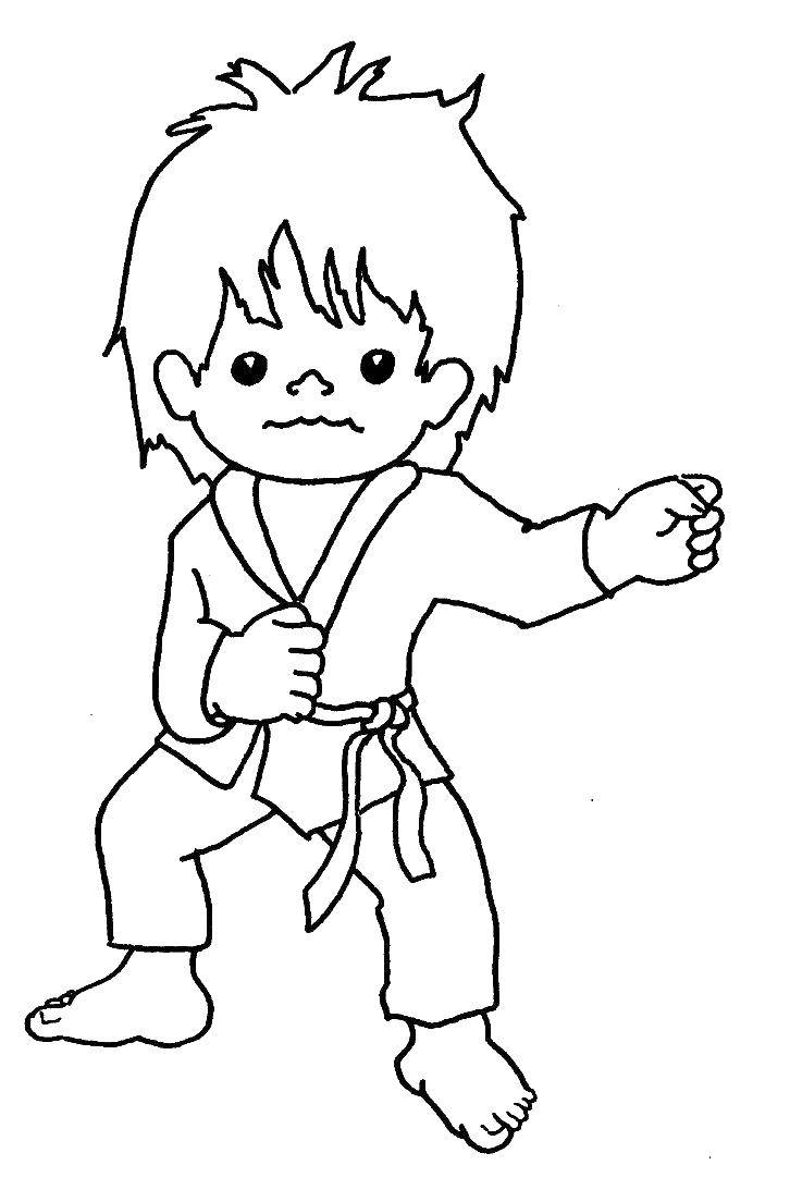 Раскраска Мальчик каратист Скачать мальчик, каратэ.  Распечатать ,спорт,