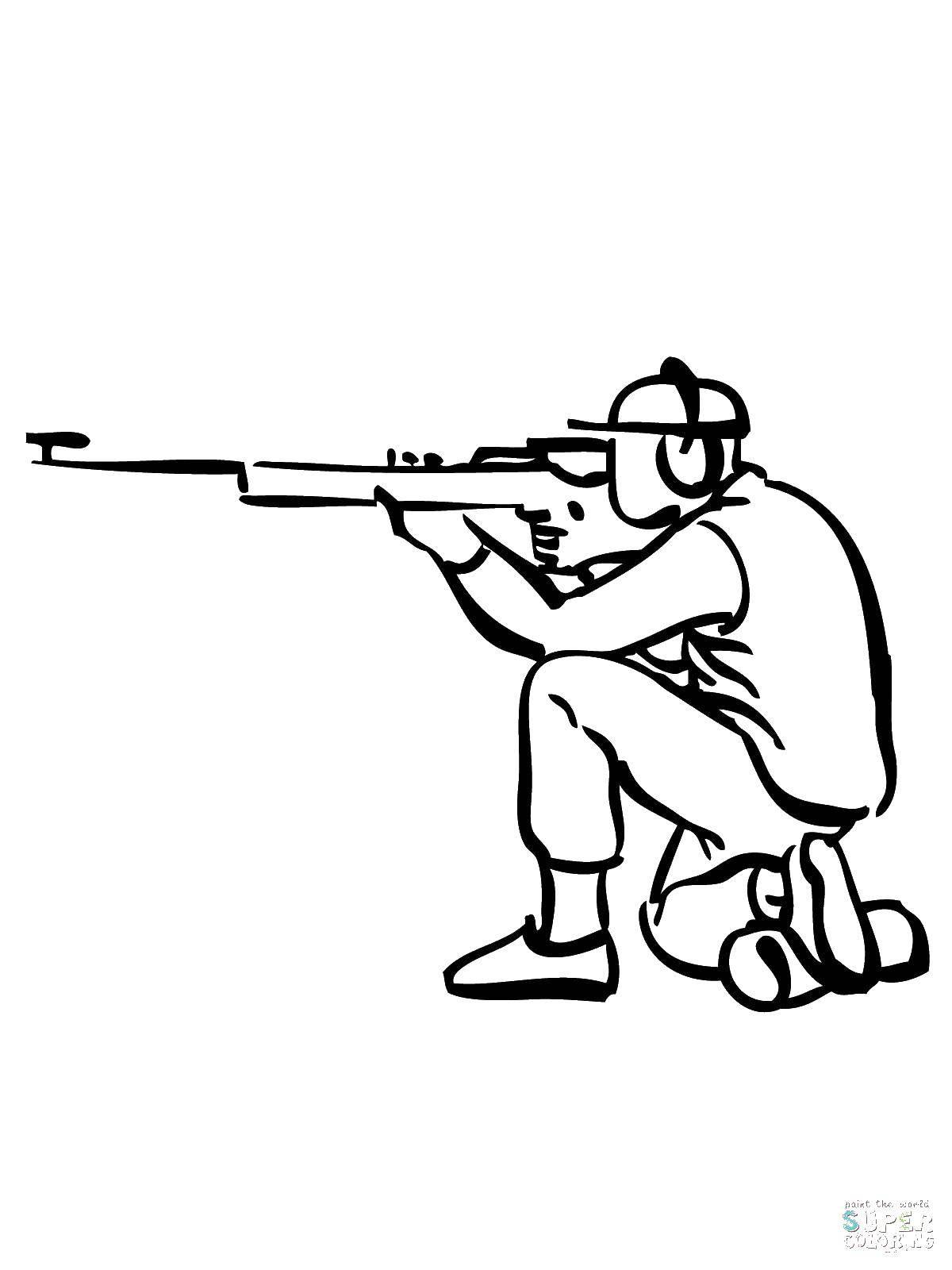 Раскраска Снайпер. Скачать снайпер, винтовка.  Распечатать ,военные раскраски,