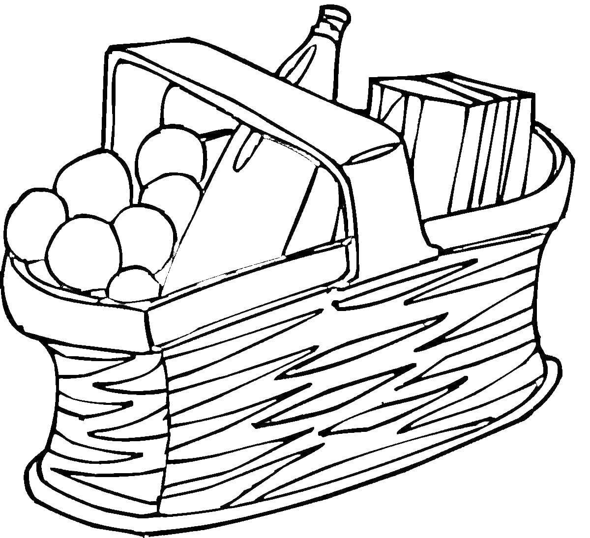 Раскраска Корзина с едой для пикника Скачать еда, корзина.  Распечатать ,Еда,