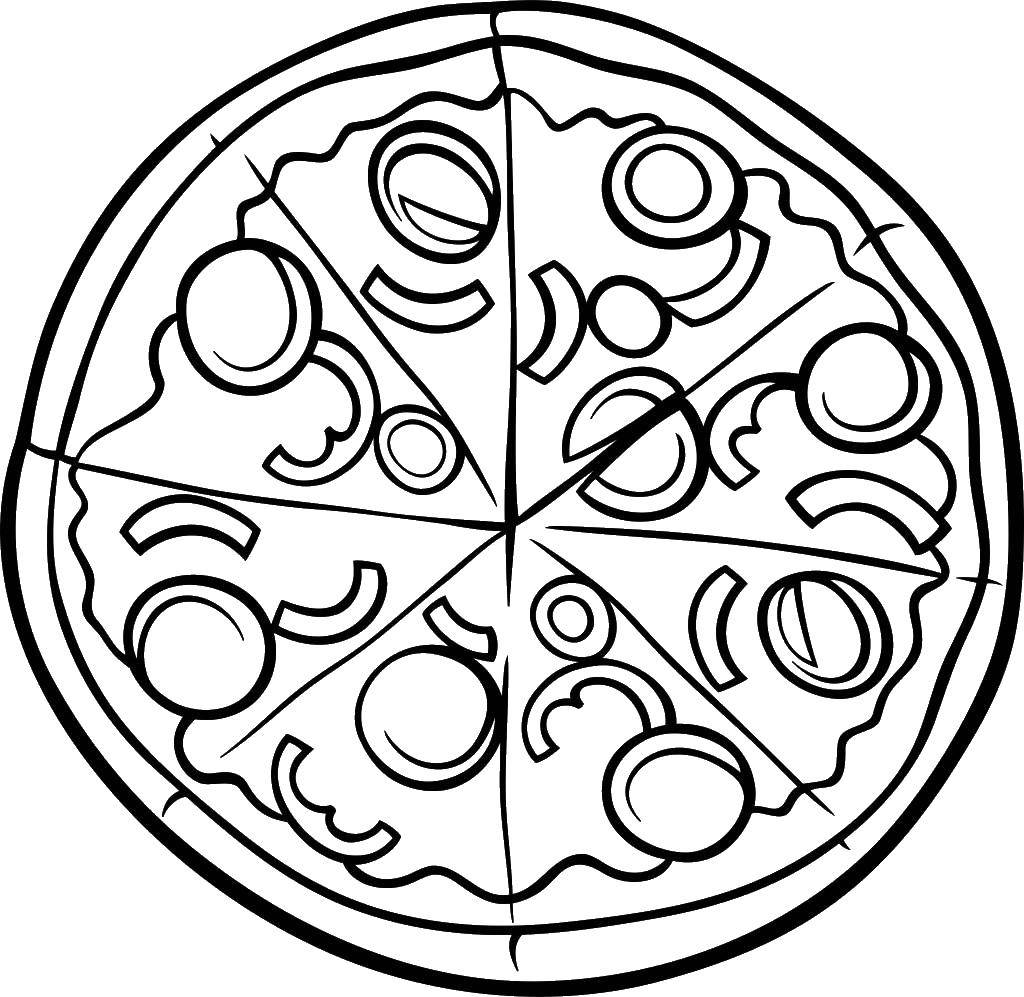 Раскраска Пицца Скачать пицца, еда.  Распечатать ,Еда,