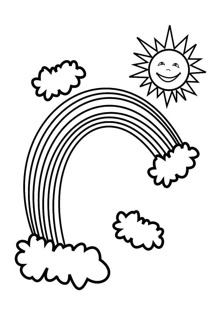 Раскраска Радуга и солнце Скачать радуга, солнце.  Распечатать ,погода,