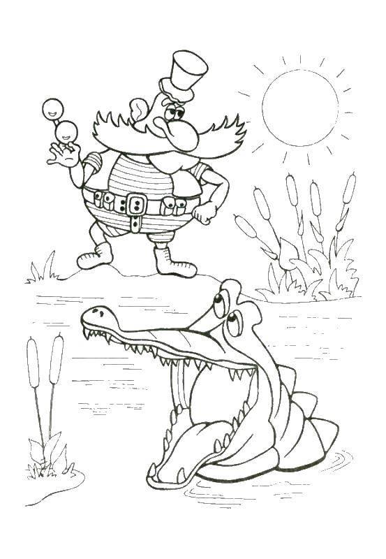 раскраски крокодил раскраска крокодил и пират доктор айболит