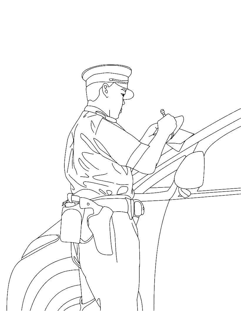 Раскраска милиционер Скачать ,милиционер, нарушитель,.  Распечатать