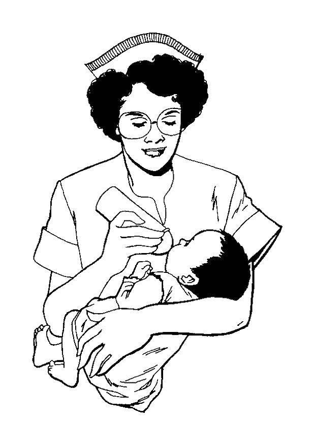 Раскраска Медсестра кормит ребенка Скачать медсестра, лекарства, ребенок.  Распечатать ,Медицинские раскраски,