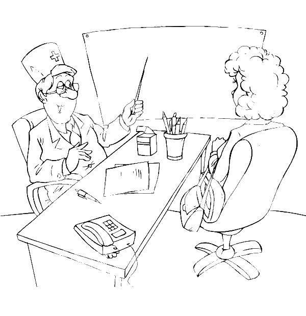 Раскраска Врач с пациенткой Скачать врач, пациент.  Распечатать ,Медицинские раскраски,