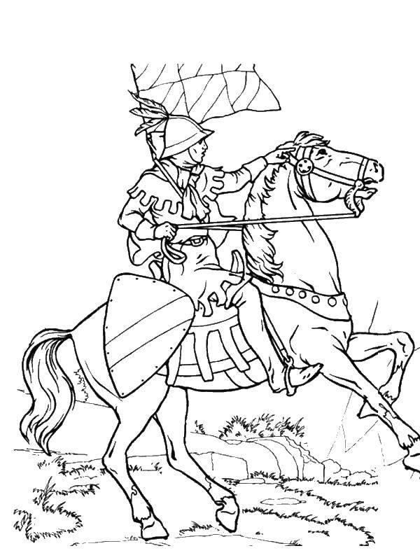 Раскраска Рыцарь на коне. Скачать рыцарь, конь.  Распечатать ,Рыцари,