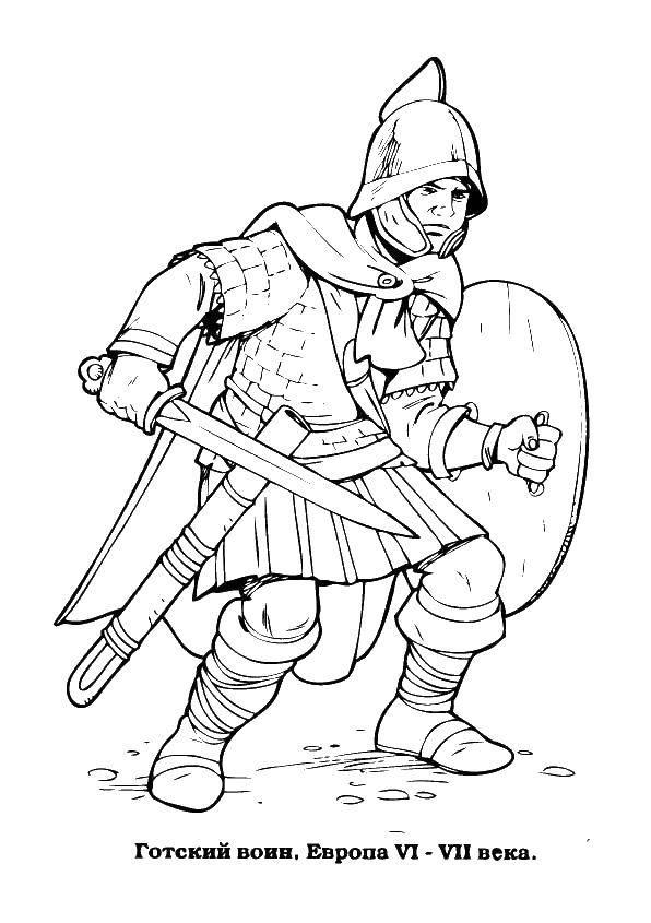 Раскраска Рыцарь в доспехах Скачать рыцарь, доспехи.  Распечатать ,крестоносцы,