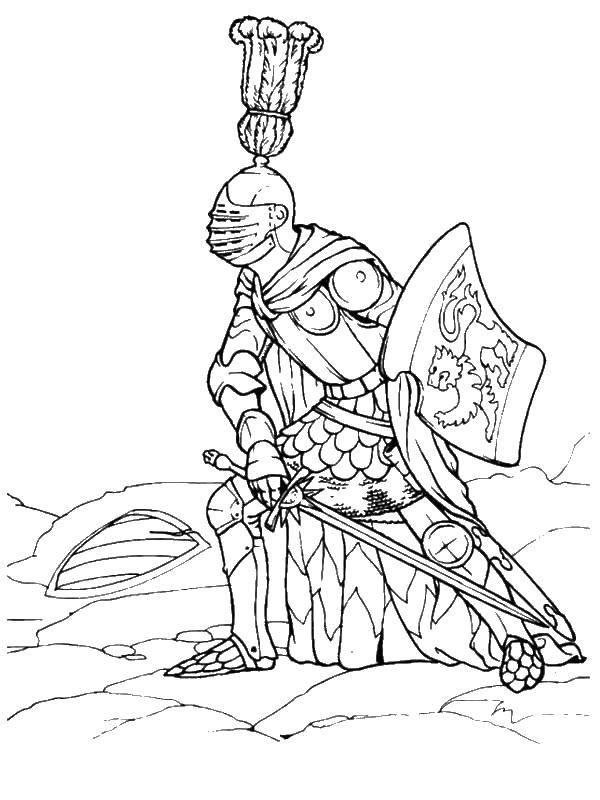Раскраска Рыцарь в доспехах Скачать рыцарь, доспехи.  Распечатать ,Рыцари,