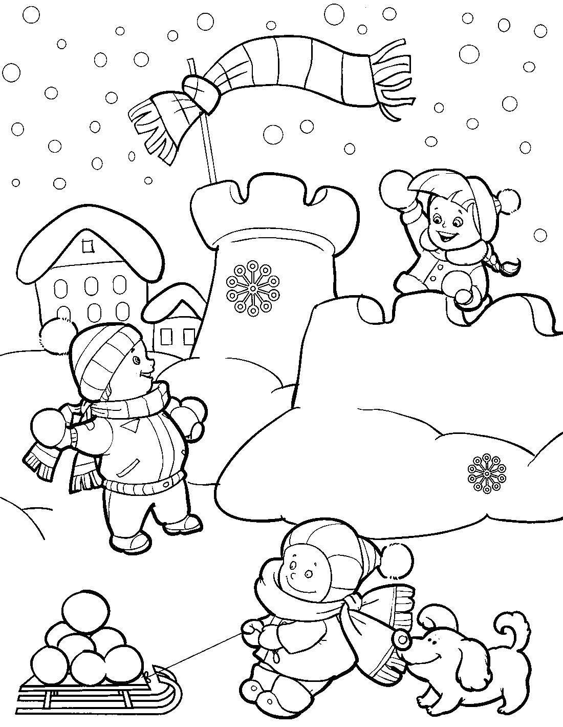 раскраски крепость раскраска дети построили крепость из