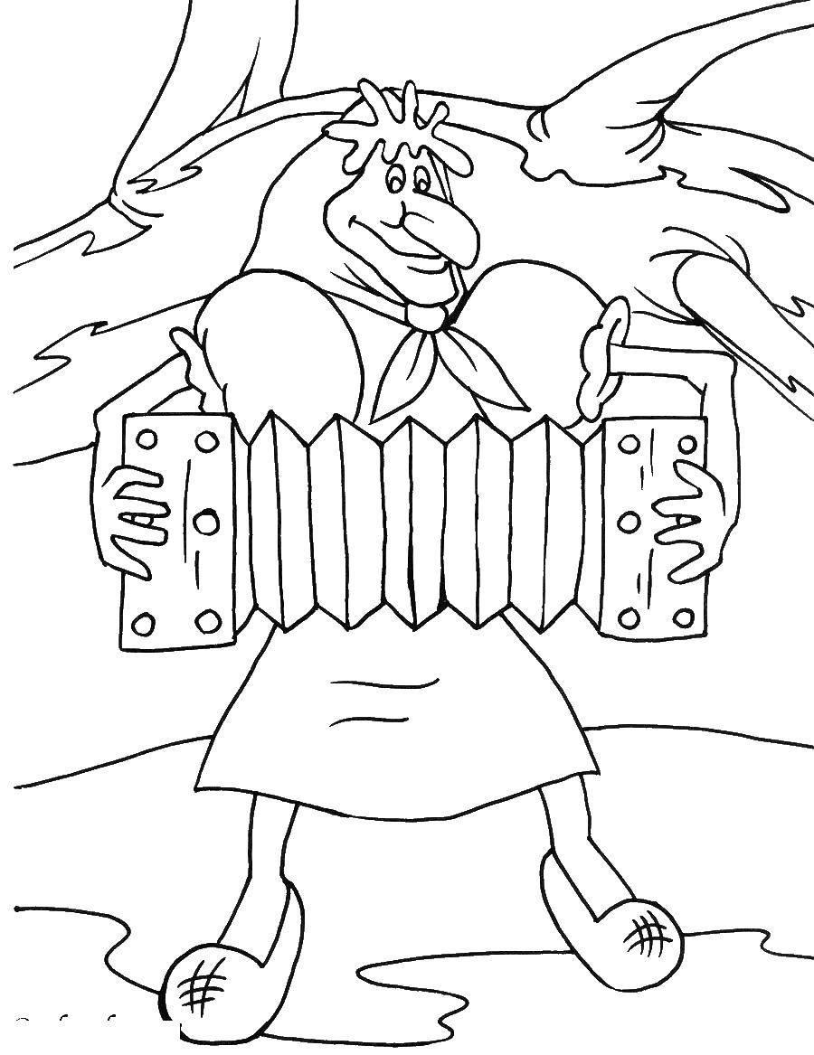 Раскраска Баба яга играет на гормошке Скачать летучий корабль, баба яга.  Распечатать ,летучий корабль,