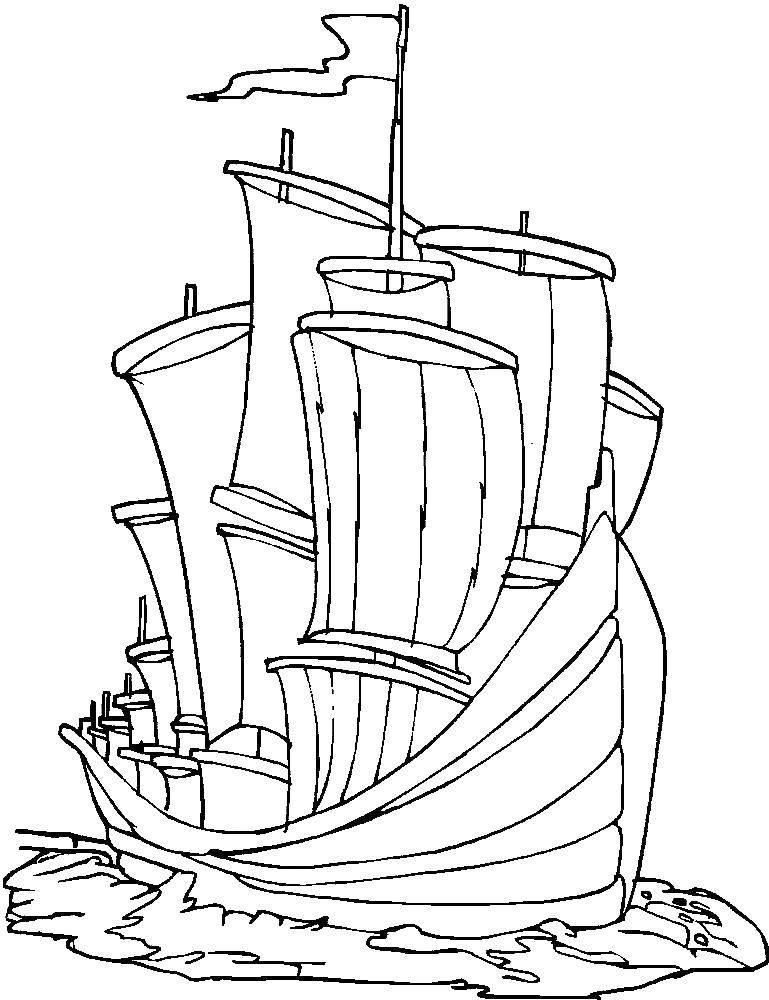 Раскраска корабль Скачать ,морское, море, рыбки,.  Распечатать