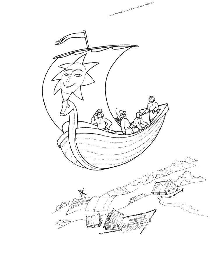 Раскраска Летучий корабль Скачать летучий корабль.  Распечатать ,летучий корабль,