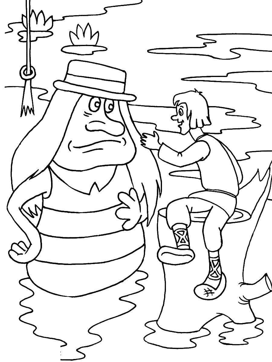 Раскраска летучий корабль Скачать ,медведи,бита, мяч, дерево,.  Распечатать