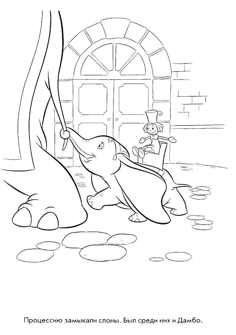 Раскраска Дамбо держится за мамуц Скачать Дамбо, слон.  Распечатать ,дамбо,