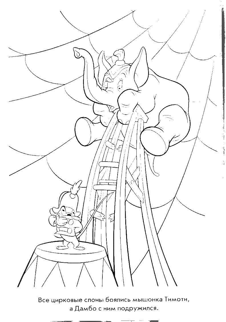 Раскраска Дамбо и мышонок тимоти Скачать дамбо. мультфильмы, слоненок, Мышонок Тимоти.  Распечатать ,дамбо,