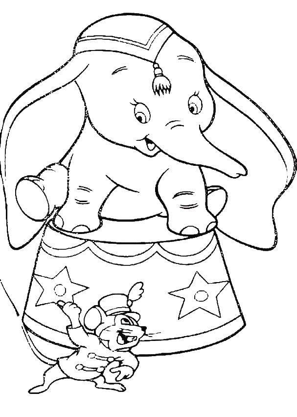 Раскраска Диснеевские персонажи Скачать ,Животные, слоненок,.  Распечатать