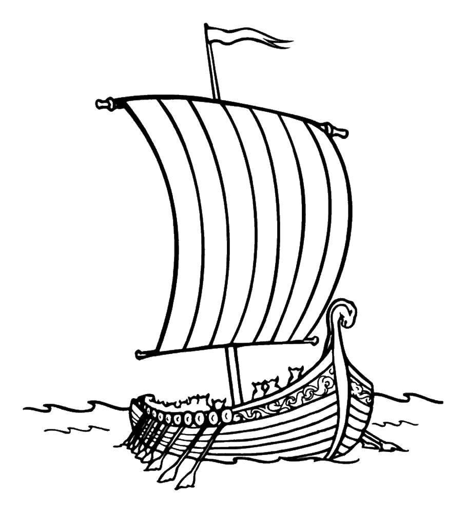 Раскраска Корабль Скачать корабль, море.  Распечатать ,летучий корабль,