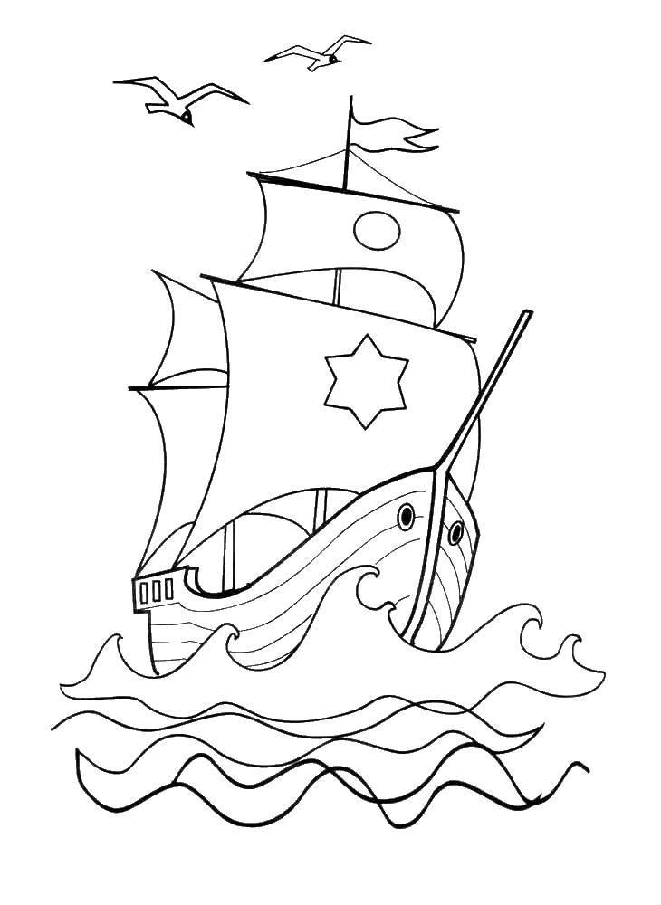 Раскраска Летучий корабль Скачать Сказки.  Распечатать ,летучий корабль,