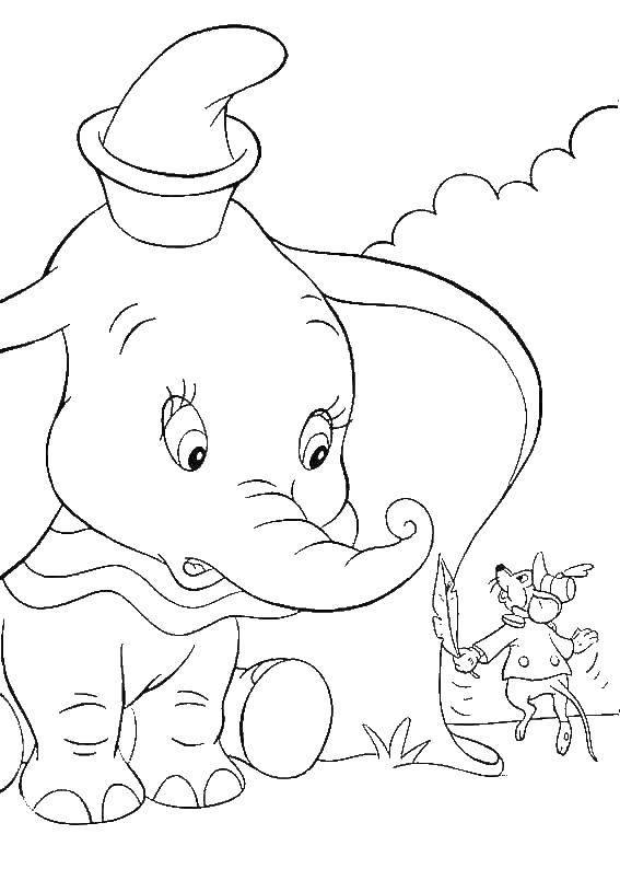 Раскраска Слоненок дамбо с мышкой Скачать Дамбо, слон.  Распечатать ,дамбо,