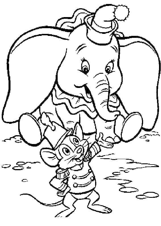 Раскраска Слоненок дамбо с мышкой Скачать Слон, Дамбо.  Распечатать ,дамбо,