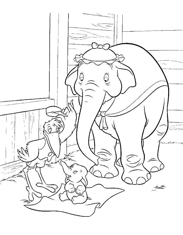 Раскраска Слониха со слоненком дамбо Скачать Дамбо, слониха.  Распечатать ,дамбо,