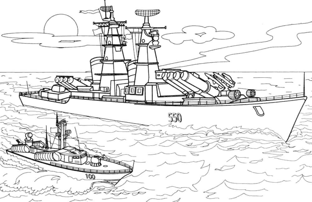 Раскраска Военные действия на воде Скачать Военное, пароход.  Распечатать ,военное,
