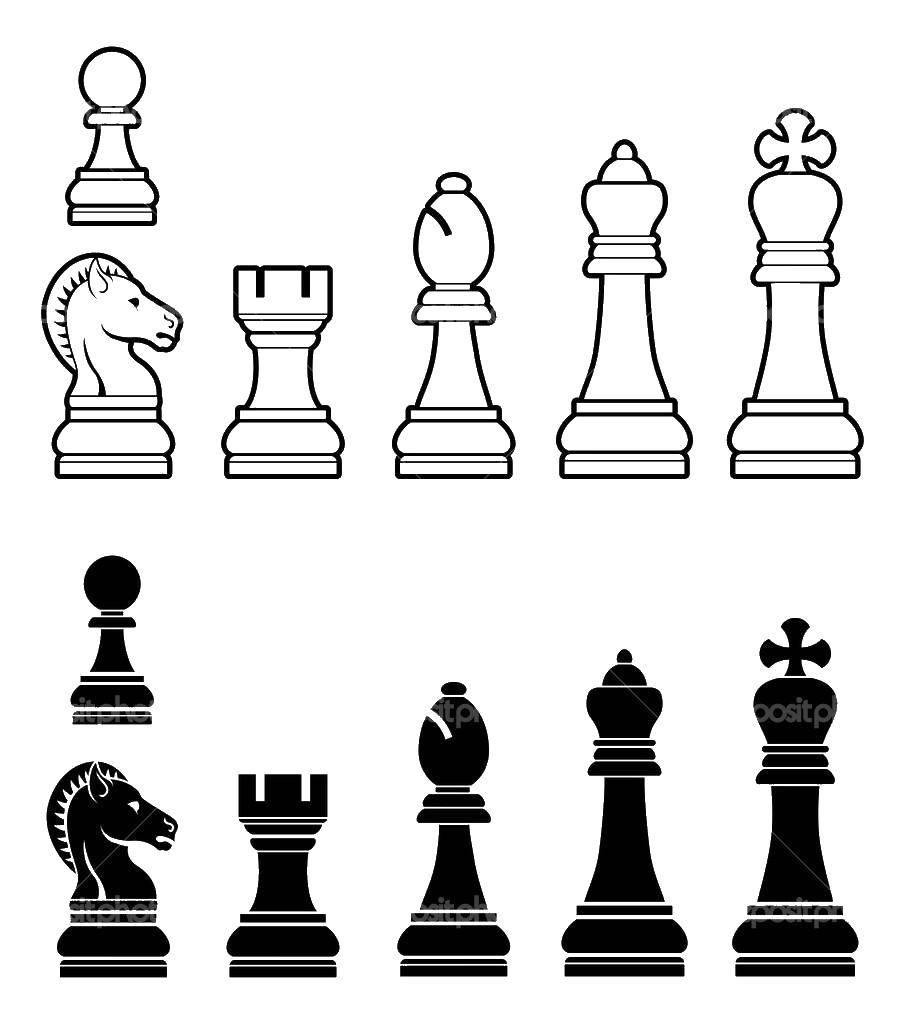 Раскраска Шахматы Скачать ,шахматы, игра, фигуры,.  Распечатать