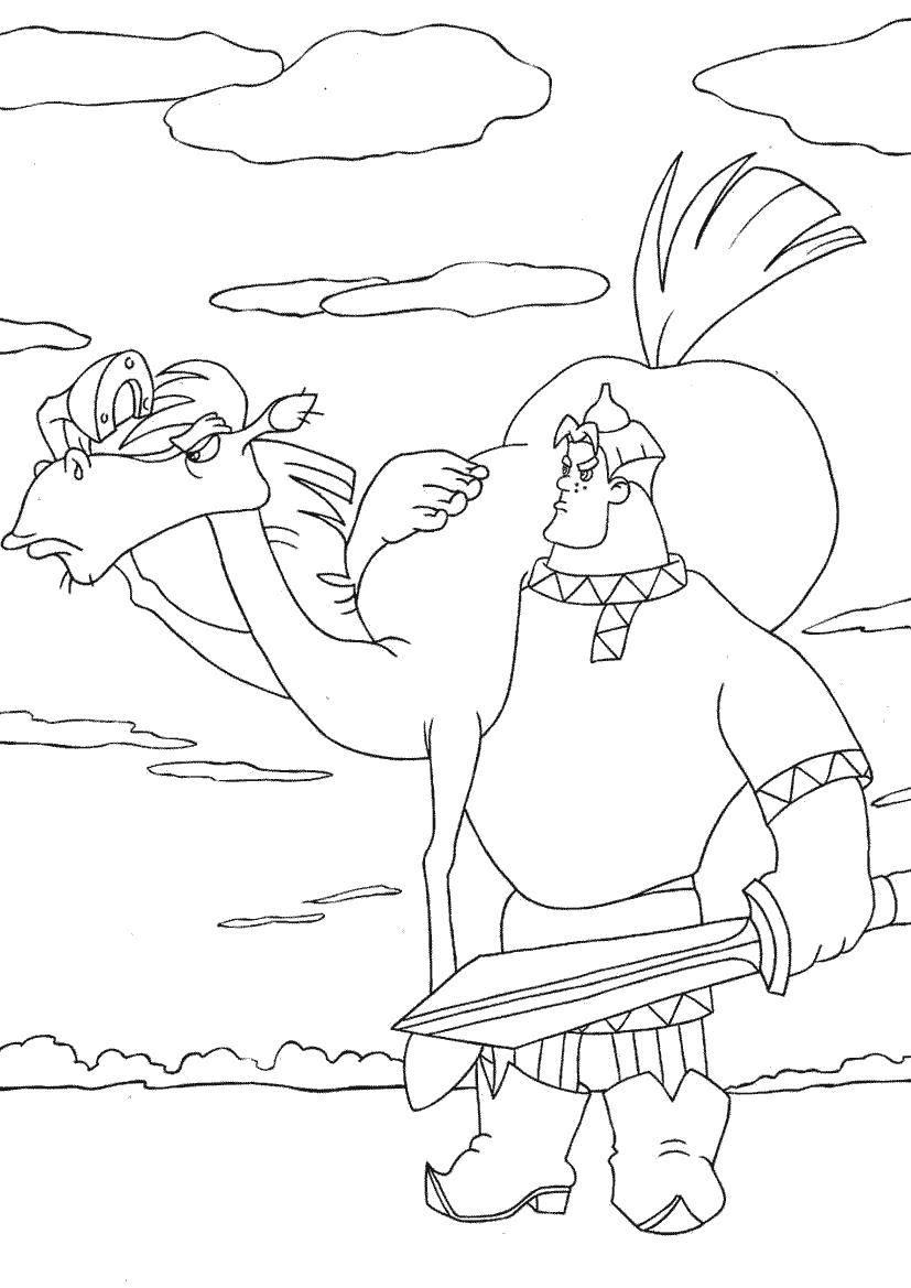 Раскраска Алёша попович с конём Скачать Богатырь, Алёша Попович.  Распечатать ,три богатыря,