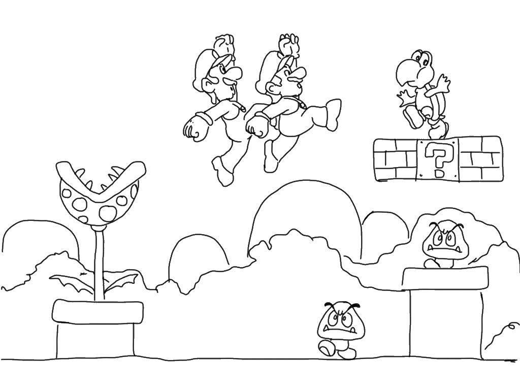 Раскраска Супермарио спасает принцессу Скачать супермарио.  Распечатать ,Персонаж из игры,