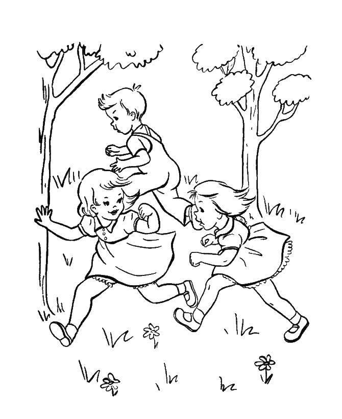 Раскраска Дети играют в догонялки Скачать дети, догонялки.  Распечатать ,игры,