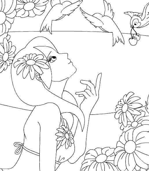 Раскраска Девушка в купальнике с птичками Скачать девушка, модель, купальник.  Распечатать ,девушка,