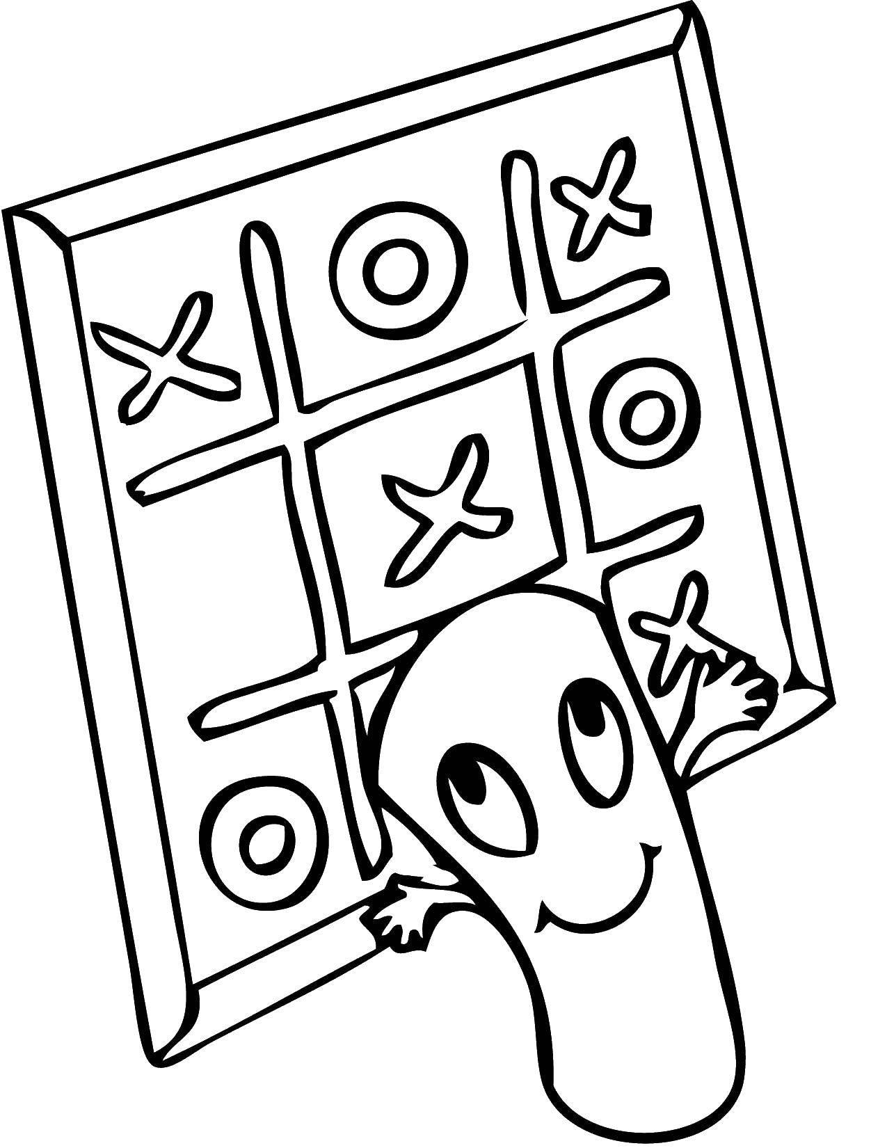 Раскраска Игра в крести нолики Скачать игра, крестики, нолики.  Распечатать ,игры,