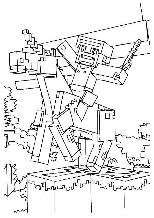 Раскраска Майнкрафт рыцарь на коне Скачать майнкрафт, рыцарь.  Распечатать ,майнкрафт,