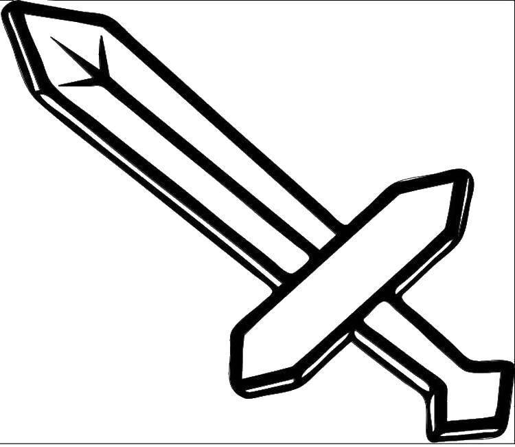 Раскраска Меч майнкрафт Скачать майнкрафт, меч.  Распечатать ,майнкрафт,